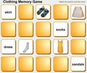Clothing memory game